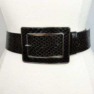 BE Snake Square Buckle Wide Leather Brown Belt XS